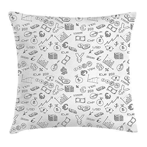 shizh Dekokissen Kissenbezug Einfarbiges Muster mit Euro-Dollar Yen Symbols Coins Piggy Bank Stock Graphs Doodle Decor Square Accent Pillow Case 45 x 45 cm (Accent Bank Stuhl)