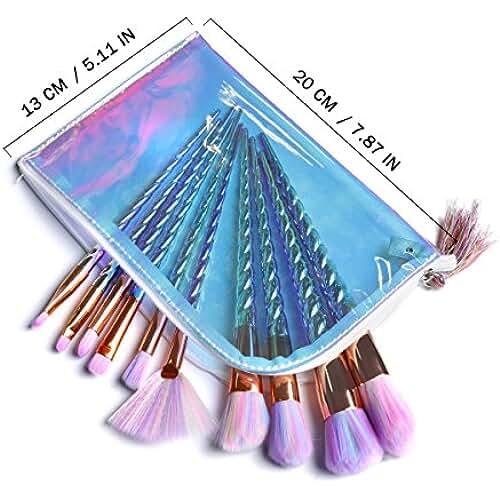 maquillaje unicornio kawaii Pinceles de maquillaje Unicornio Set 10 PCS Profesional Ojo lindo Pinceles de maquillaje de sirena grande grande con bolsa de belleza para niñas Regalo de Navidad de las mujeres por LK LANKIZ