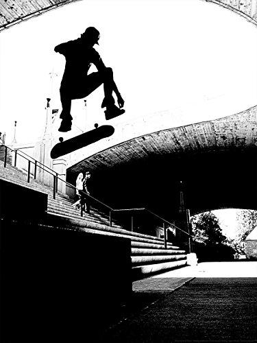 Postereck - 0174 - Skateboard Sprung, Schwarz Weiß - Poster 4:3-40.0 cm x 30.0 cm