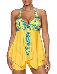Minasan Sommer Damen Vintage Elegant Floral Muster Drucken Swimwear Casual  Strand Halter Push Up Badeanzug Tankini 185cef3db2