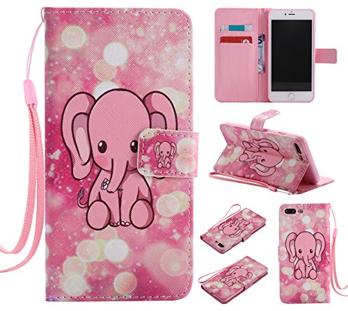 Ooboom® iPhone 8 Plus/iPhone 7 Plus Hülle Flip PU Leder Handy Tasche Case Cover Wallet Brieftasche Standfunktion mit Kartenfächer für iPhone 8 Plus/iPhone 7 Plus - Don't Touch My Cell Phone Elefant Rosa