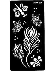 Nouveau. Tattoo Pochoir Fleurs Abeille Papillons Designs s2122pour sergé