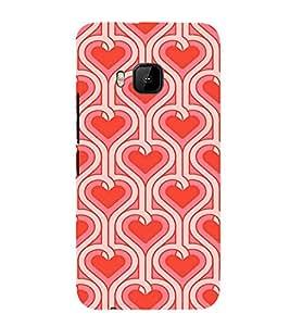 EPICCASE Pink Hearts Pattern Mobile Back Case Cover For HTC One M9 (Designer Case)