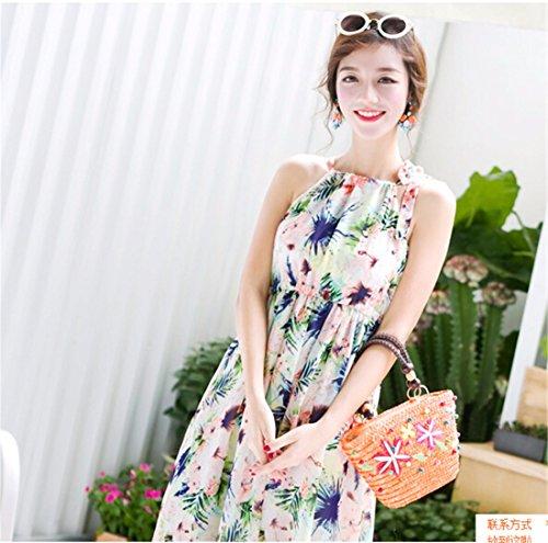 QIYUN.Z Boheme Sexy Petite Plage Imprime Floral Col Licou Sans Manches Longue Robe Fantaisie Fantaisie