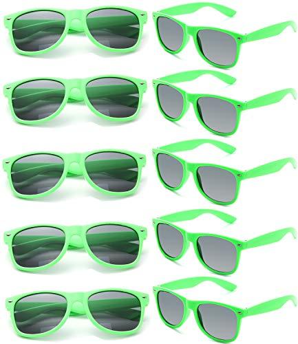 FSMILING Nerd Party Sonnenbrille UV400 Retro Design Stil Unisex Brille (10 Stück Grün Brillen)