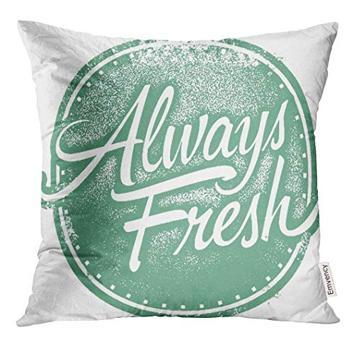 reen Produce Always Fresh Food Product Stamp Daily Decorative Pillow Case Home Decor Square 18x18 Inches Pillowcase ()