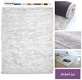 Fabelia Hochflor Teppich Shaggy Gentle Luxus - Weich und Handgetuftet (10 cm x 10 cm Muster, Weiss)