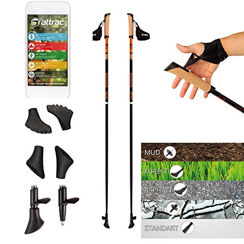POWRX Nordic Walking Stöcke Carbon Light mit Handgelenkschlaufen (115 cm) | GRATIS - Nordic Walking/Fitness App