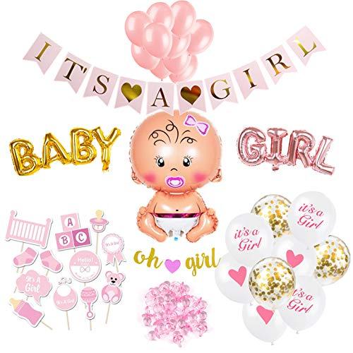 SicurezzaPrima Babyparty Deko Set XXL Mädchen - 48 Teile - Dekoration Baby Shower für Mädels - Luftballons, Girlande, Fotobox, Schnuller, Geschenk - rosa