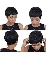Cheveux brésiliens vierges 27pièces courtes tissage cheveux humains avec fermeture sans 27pièces tissage cheveux humains Lot de 3Chaise longue Transat Bresilienne naturel couleur # 1B