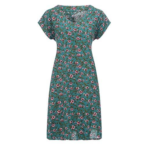 Lialbert Blumendruck Dame Leinenkleid V-Ausschnitt Kleid ÄRmeln Vintage Swing-Kleid Sommerkleid Pailletten Frauen Kleid T-Shirt-Kleid Strandkleid Skaterkleid Plissierter Rock Grün