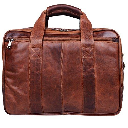 Stilord Vintage Borsa A Tracolla In Pelle Borsa Grande In Pelle Briefcase Borsa Da Insegnante Borsa Per Laptop Pelle Di Bufalo Cognac-marrone Cognac - Testa Di Moro