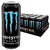 Monster Energy Absolutely Zero, Energie Getränk mit klassischem Monster-Geschmack aber Zero Zucker & wenig Kalorien, Energy Drink Dosen-Palette, EINWEG (24 x 500 ml)
