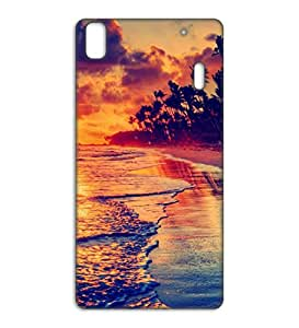 Happoz sunset at beach Lenovo A7000 Turbo pouch Mobile Phone Back Panel Printed Fancy Pouches Accessories Z328