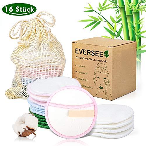 Abschminkpads Waschbar, 16 Stück Dicke Doppellage mit Haken Wiederverwendbare Abschminkpads, Gemacht aus Bambus & Baumwolle mit Wäschebeutel Abschminkpads für Paare Wunderbare Geschenke