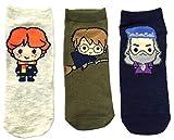 Damen Harry Potter Schuh Liners Socken 3 Paar Packung - Grün/Creme / Marineblau, UK 4-8 EUR 37-42