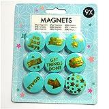9 x Fun - Spaß Magnete Kühlschrank Türkis Gold
