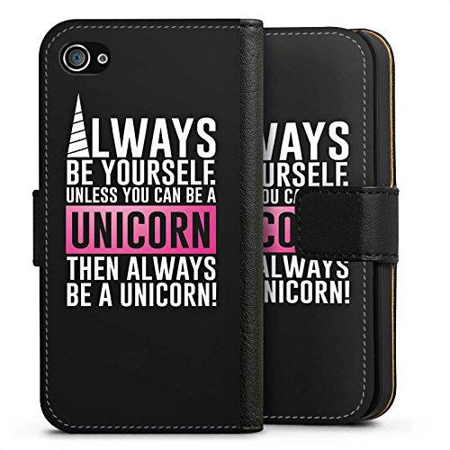 Apple iPhone X Silikon Hülle Case Schutzhülle Unicorn Einhorn Sprüche Sideflip Tasche schwarz