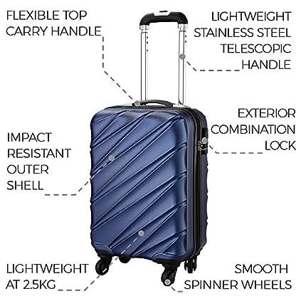 51wfty6sT5L. SS416  - Maleta de equipaje de mano de cabina con 4 ruedas para Cabina Max Toscana Super Ligera 2.4kg ABS funda dura, aprobado para Ryanair, Easyjet, British Airways y muchos más