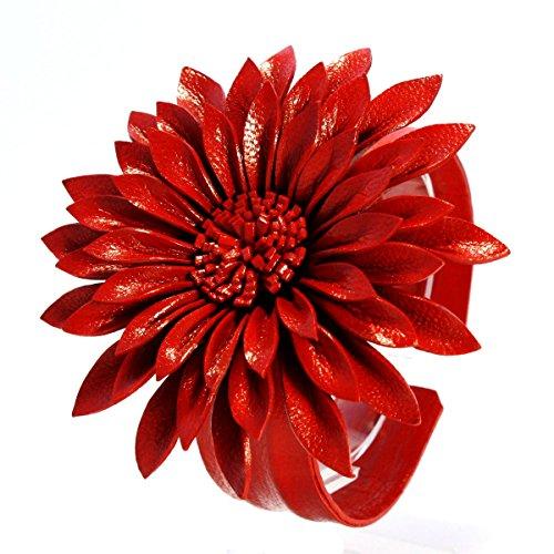 ISLAND PIERCINGS Blumen Armband aus echtem Leder größenverstellbar Rot B102