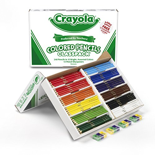 Crayola - classpack 240 matite da colorare 12 colori assortiti / colored pencil bulk, 240ct classpack