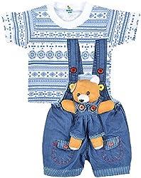Kuchipoo Baby Boys Dungaree Set (KUC-DUN-125, Blue & White, 0-6 Months)