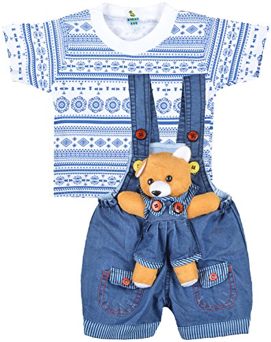 Kuchipoo Unisex Regular Fit Cotton Dungaree (KUC-DUN-101_1 Years - 1.6 Years_Blue & White)