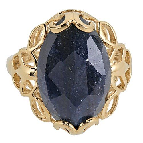Jaipur Damen Ring Solitär Gold Gelbgold 375 Saphir blau RW18 (Saphir-gold-ring)