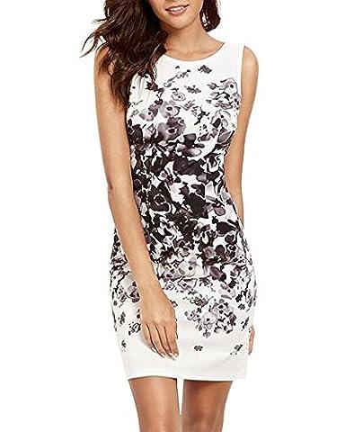Yieune Sommerkleider Damen Blume Abendkleid Ärmellos Strandkleid Knielang MiniKleider Shift Kleider (Weiß