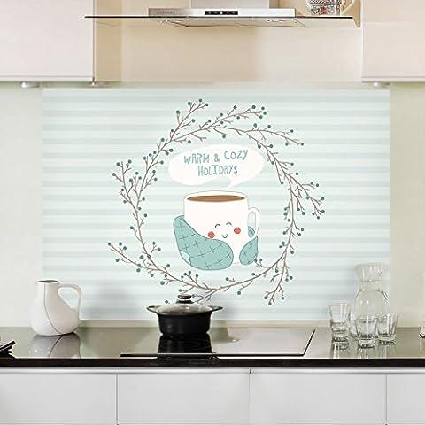 Surface résistante à l'huile de cuisine résistance à haute température anti-seize carreaux de mur de verre autocollant graisse de s'en tenir à l'extracteurs étanche autocollant résistant à l'huile 90*60cm, plateau Arabe