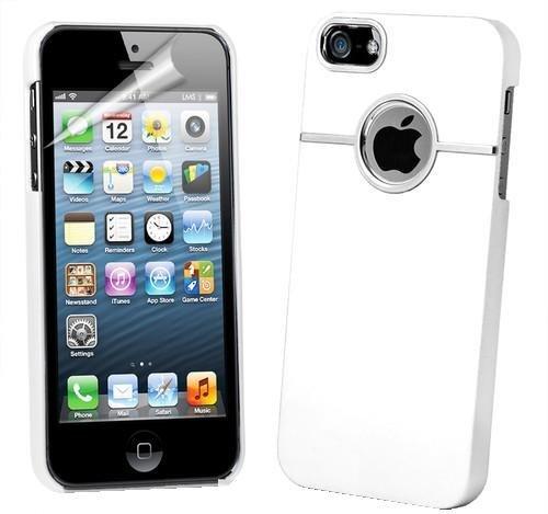 itronik Hülle kompatibel mit iPhone 5 Schutzhülle Case Hard-Cover mit Chrome Verzierung - weiss