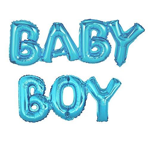 Preisvergleich Produktbild Luftballon BABY BOY Schriftzug in Blau - XXL Folienballons für Luft als Geschenk zur Geburt eines Jungen, Baby-Shower-Party Dekoration oder Überraschung