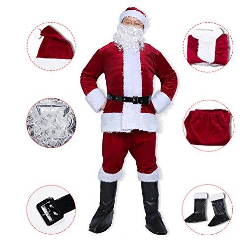 Erwachsene Kostüme Deluxe Für (Burgunder Erwachsene Herren 6 Set Stück Weihnachtsmann Deluxe Samt)