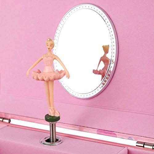 SONGMICS Musikspieldose, Spieluhr, Schmuckkästchen mit Schubladen und Spiegel, Aufbewahrung, Geschenk für Mädchen, rosa, JMC003PK - 4