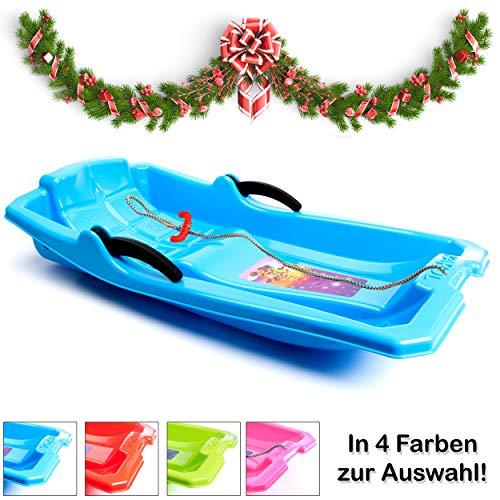 Traineau Turbo Sleigh ✅⭐⭐⭐⭐⭐✅ Luge avec Freins, traîneau en Plastique pour Enfants/Petits Enfants/Adultes de Haute qualité (Bleu)