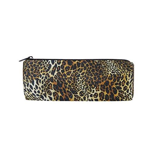 coosun Leopard Haut Hintergrund Bleistift Fall Zylinder Form Stift Stationery Tasche Bag Kosmetik Make-up Tasche (Leopard-haut-taschen)