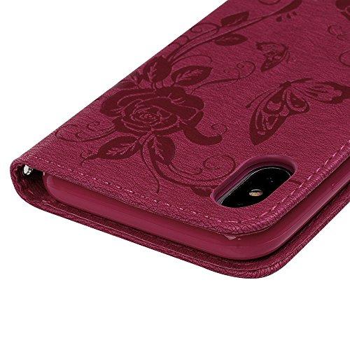 Badalink Etui Cuir en TPU pour iPhone X Silicone Relief Souple Scratch Cas de Téléphone Peint Coloré Housse Fermeture Magnétique Support Portefeuille Carte Slots Fleur d'Impression - Rouge Rouge