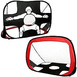Homgrace Portería de fútbol plegable perfecto para deportes y práctica en interiores y exteriores para niños color rojo