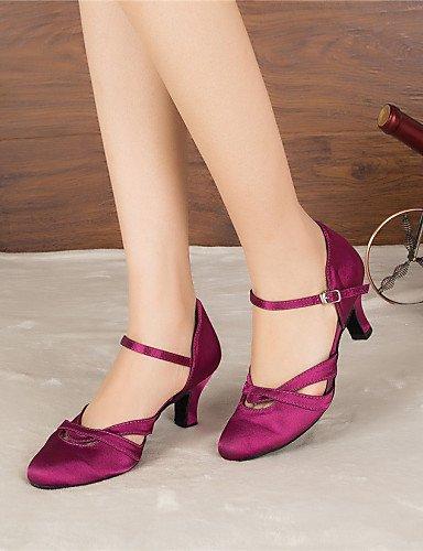 La mode moderne Sandales femmes personnalisables Chaussures de danse moderne/jazz latin/Salsa/chaussures moderne/Samba sur mesure en satin noir/pourpre Talon US9/EU40/UK7/CN41