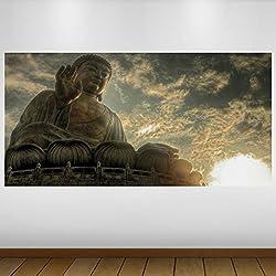 EXTRA GRANDE Oro Buda Religión Vinilo Póster - Mural Decoración - etiqueta de la pared -140cm x 70cm