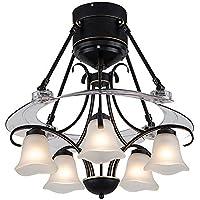 YIKUI® 48 '' Moderne Deckenventilator Licht mit 5 E27 Licht für Esszimmer Fan Kronleuchter Lampe für Restaurant, Arbeitszimmer, Wohnzimmer, Schlafzimmer - mit Fernbedienung
