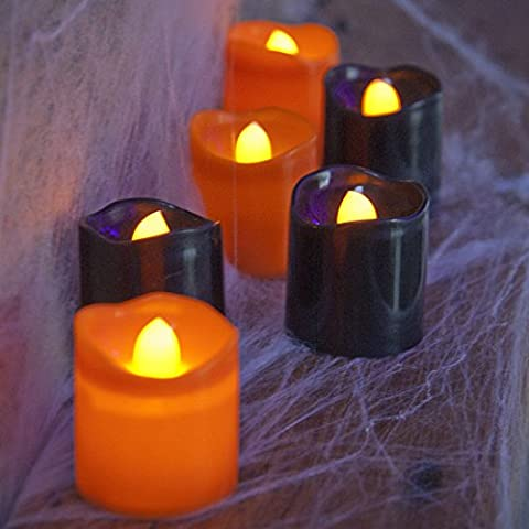 6 Flickering Black & Orange LED Battery Halloween Tea Light Candles Halloween Prop Decoration