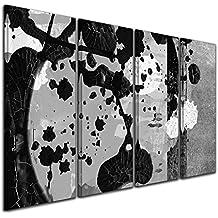 Bilderdepot24 Cuadros en Lienzo - Arte abstracto Abstracto 45b blanco y negro - 80x50 cm 4 piezas - listo tensa, directamente desde el fabricante