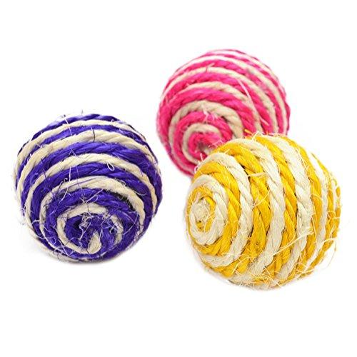 Demarkt Katze Sisal Seil Ball Rassel Scratcher Spielball Kauen Spielzeug Kätzchen Kugel Bälle für Haustier Katzen Hunden 3 Stück -