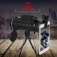 Forfar 1Pc 40X60 HD Pro Optics Outdoor Travel Monocular Telescope Phone Lens with Tripod for Bird Watching Hunting Outdoor Camping Surveillance