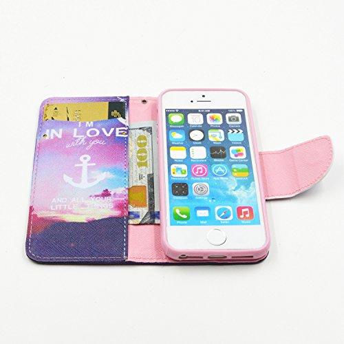 MOONCASE Coque en Cuir Portefeuille Housse de Protection Étui à rabat Case pour Apple iPhone 4 4S BF02