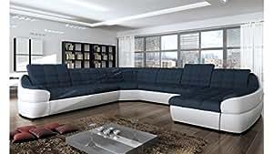 JUSThome INFINITY XL COMFORT Divano a U Divano Imbottito Divano angolare Finta PelleTessuto a strutturale (LxLxA): 310x390x76-86 cm Bianco Blu Penisola a destra