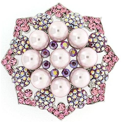 Spilla rosa chiaro cristallo swarovski perla fiore spilla