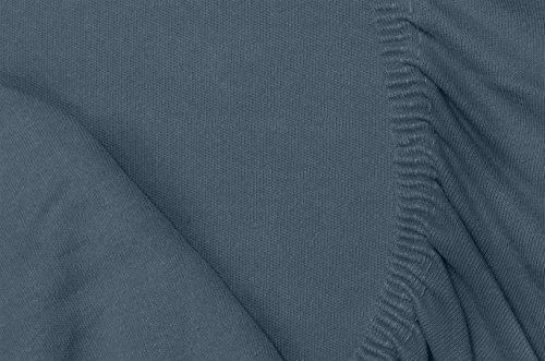 Double Jersey - Spannbettlaken 100% Baumwolle Jersey-Stretch bettlaken, Ultra Weich und Bügelfrei mit bis zu 30cm Stehghöhe, 160x200x30 Anthrazit - 7