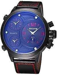 SKONE Big Face Leather Strap Three Function Dials Quartz Mens Watch (Red)